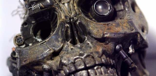 The robotic skull of a T-600 cyborg used in the movie Terminator 3.