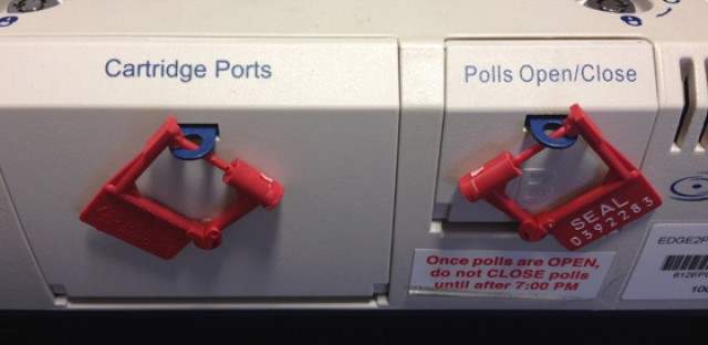 Tamper safeguards used on Chicago's electronic voting machines.