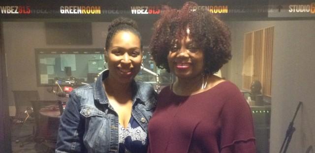 WBEZ's Jenn White and jazz vocalist Sarah Vaughn.