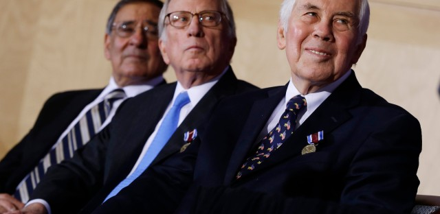 Sen. Dick Lugar, R-Ind., right, former Sen. Sam Nunn, D-Ga., center, and Defense Secretary Leon Panetta, left, listen as President Barack Obama, not pictured, speaks at the Nunn-Lugar Cooperative Threat Reduction (CTR) symposium being held at the National Defense University at Fort McNair in Washington, Monday, Dec. 3, 2012.