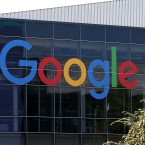 The Google logo is displayed at the company's headquarters in Mountain View, Calif., in 2015.