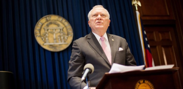 "Georgia Gov. Nathan Deal speaks during a press conference Monday in Atlanta to announce his rejection of a controversial ""religious liberty"" bill. He said: ""I have examined the protections that this bill proposes to provide to the faith-based community and I can find no examples of any of those circumstances occurring in our state."""