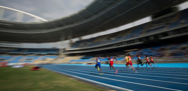 Men compete in the 100m round 1 during the Athletics test event at the Rio Olympic Stadium. The track and field test event is the last of more than 40 tests events for the Rio de Janeiro Olympics with the games opening in less than three months.