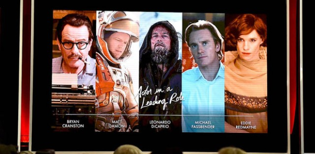 The nominees for best actor as seen on screen at the Academy Awards nominations announcement. All the nominees this year are white men.
