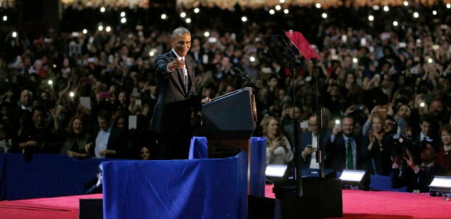 President Barack Obama speaks at McCormick Place in Chicago, Tuesday, Jan. 10, 2017, giving his presidential farewell address. (AP Photo/Nam Y. Huh)