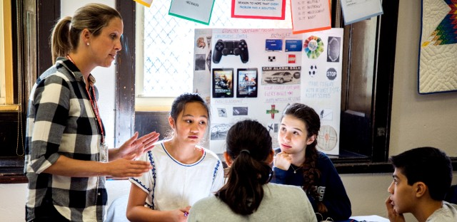 A group of eighth-grade students from Ravenswood Elementary attend Lake View High School in the morning for geometry class. It's part of an effort to promote neighborhood high schools to students who may overlook them.
