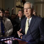 Senate Majority Leader Mitch McConnell, R-K.Y., seen speaking to reporters on Tuesday, is set to release a draft of the Senate's version of the Republican health care bill on Thursday.