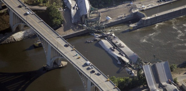 The collapsed 35W bridge in Minneapolis seen on August 2, 2007. (Morry Gash/AP)