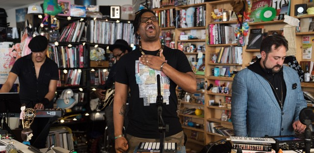Open Mike performs a Tiny Desk Concert on Dec. 8, 2017 (Jennifer Kerrigan/NPR).