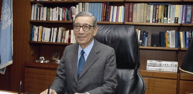 Secretary-General Boutros Boutros-Ghali of Egypt sits in his office on his first working day at the United Nations in New York City on Jan. 2, 1992. Boutros-Ghali has died at age 93.