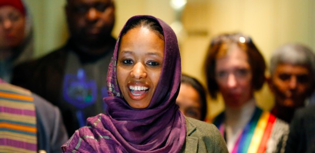 Former Wheaton College associate professor Larycia Hawkins talks to reporters during a news conference Dec. 16, 2015 in Chicago.