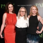 """Emily Mortimer, from left, Sally Potter and Patricia Clarkson attend a special screening of """"The Party"""" at Metrograph on Monday, Feb. 12, 2018, in New York."""