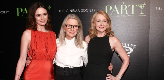 "Emily Mortimer, from left, Sally Potter and Patricia Clarkson attend a special screening of ""The Party"" at Metrograph on Monday, Feb. 12, 2018, in New York."