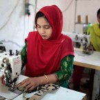 Bangladeshi garment workers, who worked at the Rana Plaza garment factory that collapsed tin 2013, work at a factory meant to rehabilitate survivors of the accident, the worst in the history of the garment industry, in Savar, near Dhaka, Bangladesh.