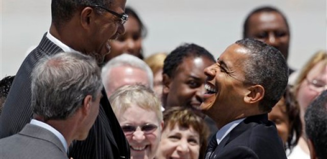 Warrenville Heights, Ohio mayor Brad Sellers greets President Obama at the Cleveland airport last week.