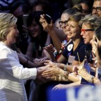 Democratic presidential candidate Hillary Clinton is greeted by supporters as she arrives to a presidential primary election night rally on June 7 in New York.