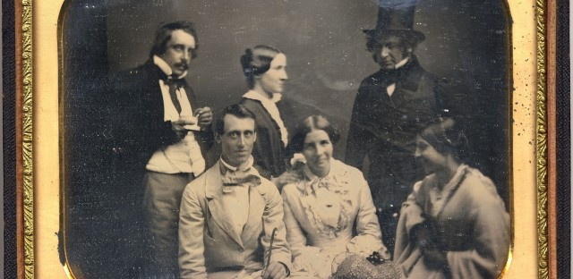 Julia Ward Howe was a famous feminist and essayist in her day, who consorted with other intellectuals of her era. From left: Thomas G. Appleton, John G. Coster, Julia Ward Howe, Fanny Appleton Longfellow, the poet Henry Wadsworth Longfellow, and Augusta Freeman, who had been Julia's friend in Rome. The group is pictured in Newport, R.I., in the summer of 1852.