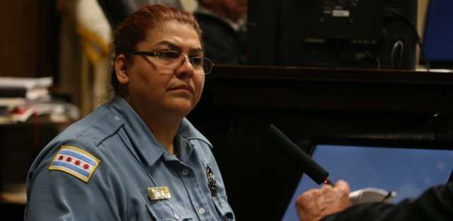 Chicago Police Officer Dora Fontaine testifies in the trial of Officer Jason Van Dyke at the Leighton Criminal Court Building on Sept. 17.