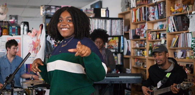 Noname performs a Tiny Desk Concert on Feb. 28, 2017. (Claire Harbage/NPR)