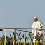 Pope Francis walks onstage before celebrating Mass at the Ciudad Juarez fairgrounds, near the U.S. border on Wednesday.