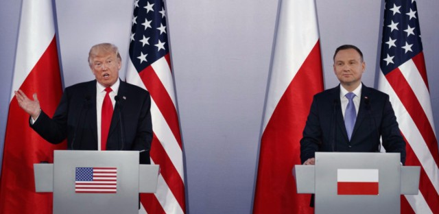 President Trump speaks during a news conference with Poland's President Andrzej Duda Thursday in Warsaw.