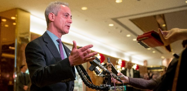 Chicago Mayor Rahm Emanuel speaks with members of the media after meeting with President-elect Donald Trump at Trump Tower in New York, Wednesday, Dec. 7, 2016.