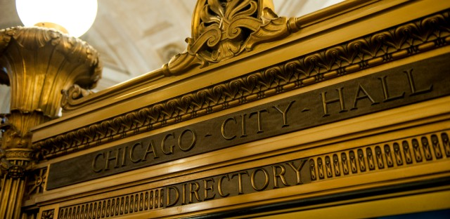 A directory sign is shown inside Chicago's City Hall on July 25, 2018.