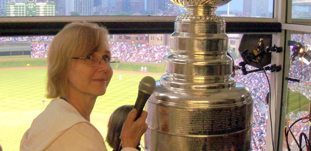 Cheryl Raye-Stout interviews the Stanley Cup at Wrigley Field after the Blackhawks win in 2010.