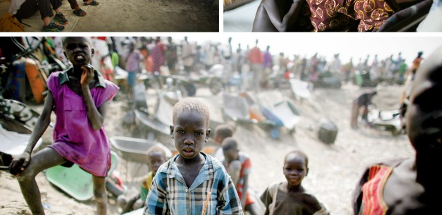 """People stand in line for food at the U.N. Protection of Civilians site near Bentiu, South Sudan. Over 120,000 people live at the site, the biggest in the country. From the story """"Five Days And Five Nights With Doctors Without Borders,"""" 2016."""
