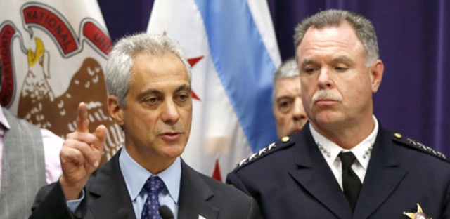 Chicago Mayor Rahm Emanuel, left, and Police Superintendent Garry McCarthy speak at a news conference, Tuesday, Nov. 24, 2015, in Chicago, announcing first-degree murder charges against police officer Jason Van Dyke in the Oct. 20, 2014, death of Laquan McDonald.