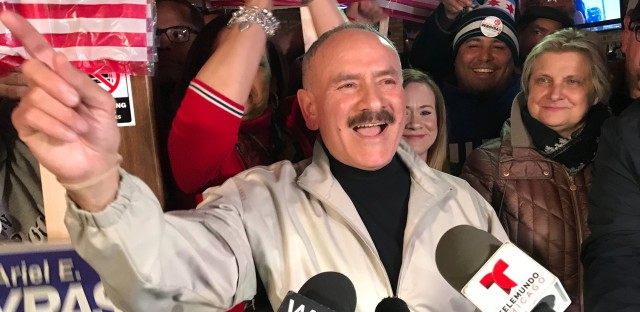 Reboyras tells supporters gathered in Chicago's Avondale neighborhood Tuesday night that challenger Jessica Gutierrez gave him his toughest campaign since 2003, when he emerged from a patronage operation of Mayor Richard M. Daley.