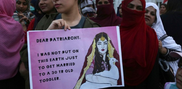 Pakistan students take part in rally to mark International Women's Day in Lahore, Pakistan, Thursday, March 8, 2018