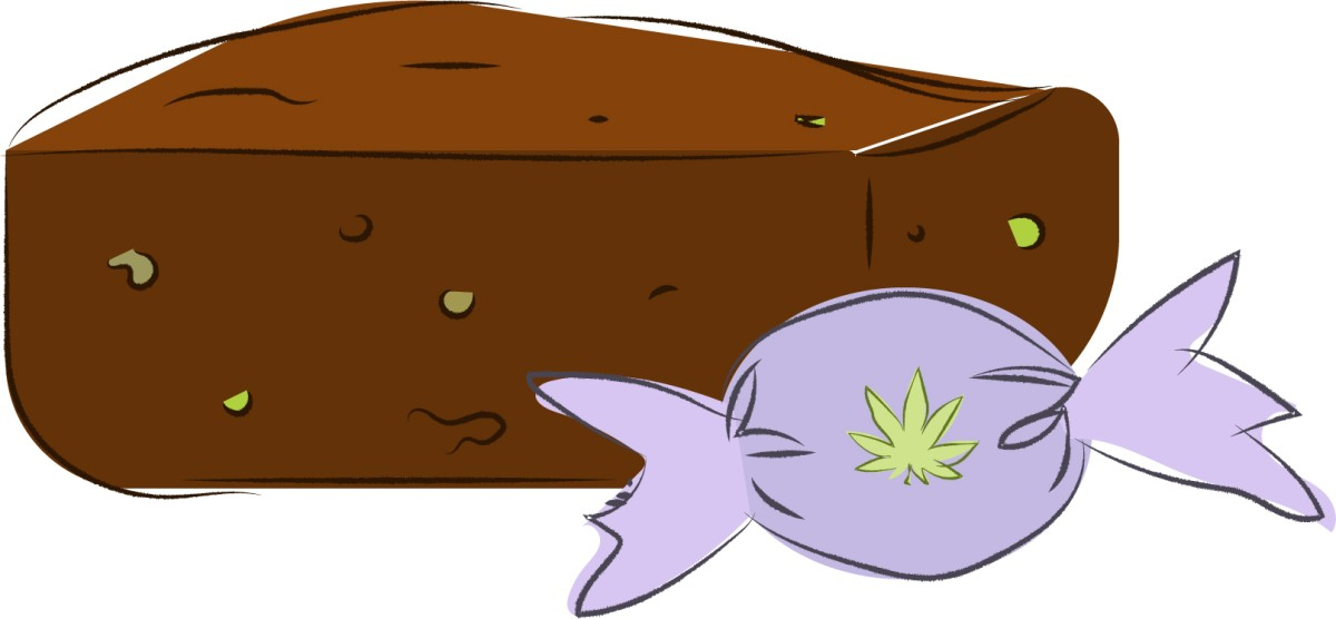 An illustration of a brownie with green flecks and a candy with a marijuana leaf on the wrapper