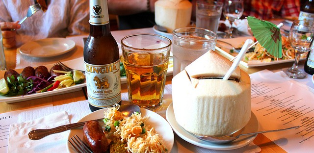 Drunken appetizers, Singha beer, fresh coconut water at Royal Thai Consulate dinner, Sticky Rice in Chicago