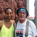 Sonja Henderson and John Pitman Weber pose in front of their MLK Memorial.