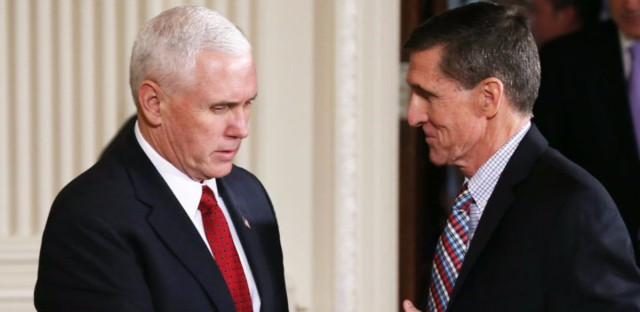 National security adviser Michael Flynn (right) is in hot water, because he may have misled then-Vice President-elect Pence (left) about the extent of a conversation he had with the Russian ambassador.