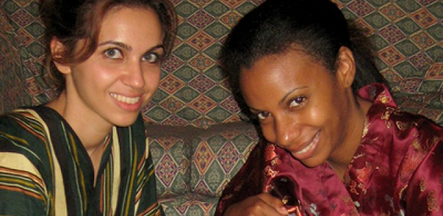 Yusra Tekbali, left, with WBEZ's Natalie Moore during Moore's recent visit to Lybia.