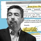 A photograph of former Ald. Danny Solis is laid against a series of documents that connect Blue Line Security, Harbee Liquors and Danny Solis