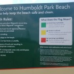 A sign at Humboldt Park Beach tells swimmers about the yellow flag atop the lifeguard stand on May 28, 2018.
