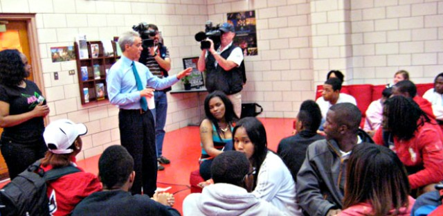 Mayor Rahm Emanuel met with students Friday morning, just after they returned from their trip to the White House.