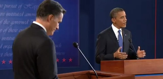 Governor Romney and President Obama at their first debate in Denver