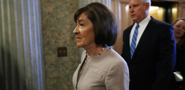 Sen. Susan Collins, R-Maine, arrives on Capitol Hill on Friday. Collins voted to advance Brett Kavanaugh's nomination, but says she will announce her position for the final vote Friday afternoon. Andrew Harrer/Bloomberg via Getty Images