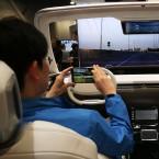 "This Hyundai MOBIS ""i-Cockpit Car"" simulator let people experience autonomous driving mode at the 2016 technology show CES in Las Vegas."