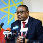 "Ethiopian Prime Minister Hailemariam Desalegn, during press conference in Addis Ababa, Ethiopia, Thursday, Feb. 15, 2018. Desalegn announced that he has submitted a resignation letter after the worst anti-government protests in a quarter-century, saying he hoped the surprise decision would help planned reforms succeed and create a ""lasting peace."""