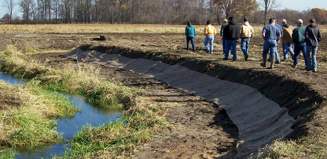 A two-stage ditch built as part of the Nature Conservancy's Wabash River initiative.