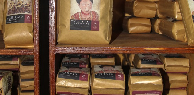 Packaged Indonesian coffee beans for sale at the Anomali Coffee shop in South Jakarta.