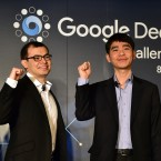 South Korean Go champion Lee Sedol (right) poses with Google DeepMind head Demis Hassabis. On Wednesday, Sedol will begin a five-match series against a computer.