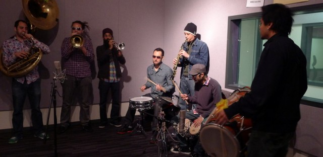 Red Baraat warms up in the studio