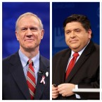 Republican Gov. Bruce Rauner (left, before the final gubernatorial debate in 2014) and his Democratic challenger J.B. Pritzker (right, before a Democratic primary debate in March 2018).