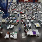 The George R. Brown Convention Center in Houston is filled with evacuees from Hurricane Harvey.